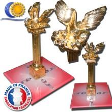 Colonnette Rose Croix Pélican dorée or fin socle personnalisable