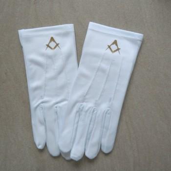 Gants blancs marqués dorés compas équerre coton
