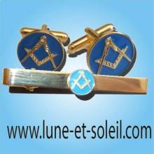 Parure Pince à cravate & Boutons manchettes assortis fond bleu