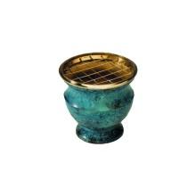 Brûle encens émaillé bleu