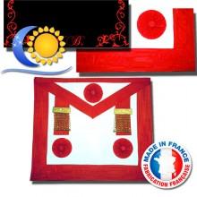 REAA Tablier de Maître 3 rosettes pendrilles ruban décoré (L&S)