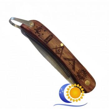 Couteau manche bois avec gravures maçonniques