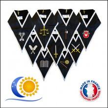 REAA Ensemble de 9 sautoirs officiers 30e degré