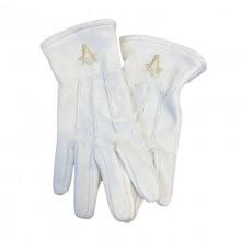 Gants Blancs 3 Griffe en Coton marqué Compas Équerre Or