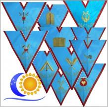Jeu de 11 Sautoirs Officiers REAA Colonne harmonie / maîttre des banquets inclus